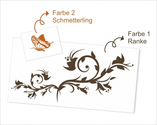 Wandtattoo Ranke Schmetterling
