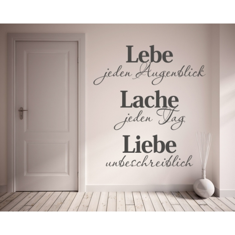 wandtattoo spruch lebe lache liebe wandtattoos spr che zitate. Black Bedroom Furniture Sets. Home Design Ideas