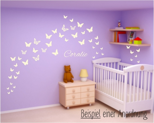 wandtattoo schmetterlinge wuschname kinderzimmer. Black Bedroom Furniture Sets. Home Design Ideas